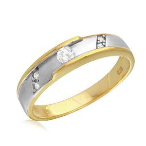 Other - Silver 925 2 Toned Gold/Rhodium Plated CZ Wedding